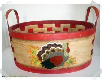 Wooden Basket with Handles w/Turkey Design/ Holiday Decor*