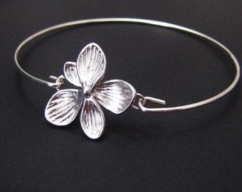 Flower Bangle Bracelet, Sterling Silver, Jewelry, Friendship Bracelet, Gift