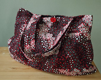 Purse or Project Bag with Stylized Flower Fabric