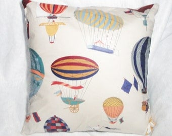 "Hot air balloon pillow cover, cream, colorful zeppelin, blimp, blue, gold, maroon, pillow slip, 14"", 16"", 18 inch, 20"", 22"", 24"", custom"