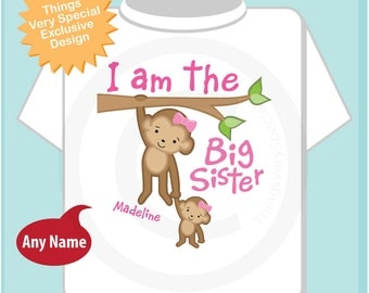 I am the Big Sister Shirt or Onesie, Personalized I'm the Big Sister Shirt with baby girl monkey (03242014b)