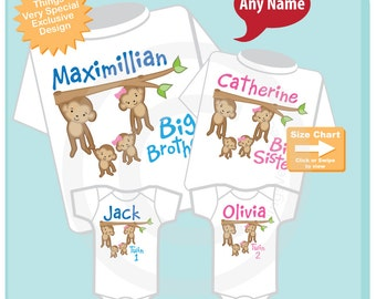 Set of Four, Sibling Monkey Shirt and Onesie Set, Big Brother Shirt, Big Sister, and Twin Baby boy and girl,  Personalized (08222014d)