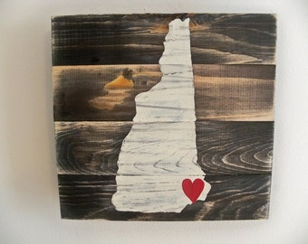 New Hampshire Map Wood Wall hanging on Stain(Customizable with heart placed on your town)
