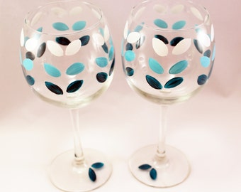 Teal Ombre petals, hand painted wine glasses, ombre wine glasses, hand painted glassware, Set of 2