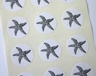 Starfish Stickers One Inch Round Seals