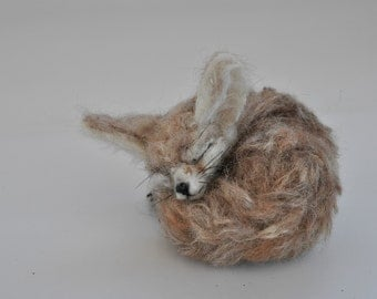 Needle Felted Animal, Needle felted sleeping Fennec Fox, Needle felted fox, needle felt animals,  Made to order