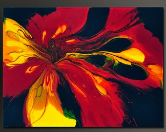 Fire Flower - 24 x 18 - Abstract Acrylic Painting - Contemporary Wall Art - Fine Art