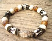 Mens bracelet tribal agate stone wooden bone bracelet earthy casual brown white rustic mans jewelry safari inspired