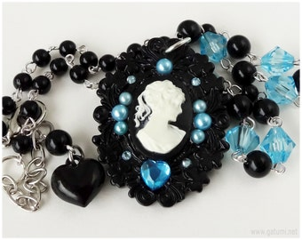 Lady Cameo Necklace, Black and Blue, Gothic Lolita, Visual Kei - Decoden Jewelry