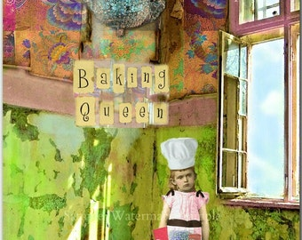 Baking Queen-Vintage Children Blank Quality greeting card for the unconventional queen in your life! (41/4x51/2-A2)#BQ001