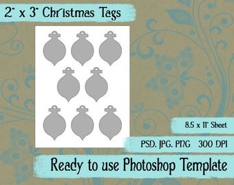 """Scrapbook Digital Collage Photoshop Template, 2"""" x 3"""" Christmas Ornament Tags"""