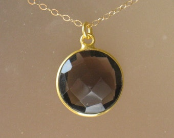 Smoky Quartz Necklace in Gold