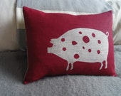 hand printed scandinavian red piggy cushion