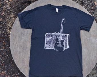 Fender Guitar and Amp T-Shirt American Apparel Black  Unisex Tee