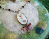 Recycled Broken China Necklace with Beaded Chain, Handmade Bezel and Glass Beads