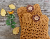Boot Cuffs in Honey with Wood Buttons and Crochet Flower, Crochet Boot Toppers, Amber Gold, Fall Boot Cuffs,  Winter Fashion Accessories