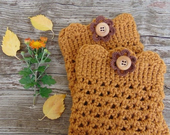 Boot Cuffs in Honey with Wood Buttons and Crochet Flower, Crochet Boot Toppers, Gold Fall Boot Cuffs,  Winter Fashion Accessories