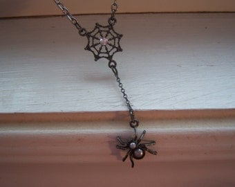 Spider Necklace - Spider Web Necklace - Black Widow Necklace - Goth Necklace - Halloween Necklace - Free Gift