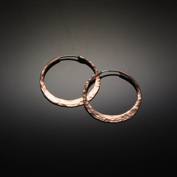 Small Hoop Earrings // Copper Hippie Hoop Earrings 1.25 inch