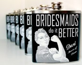 Bridesmaid Gift, Maid of Honor Gift, Wedding Party Flask, Bachelorette Party, Bridal Shower, Personalized Flask, Rosie the Riverter, Pin-Up