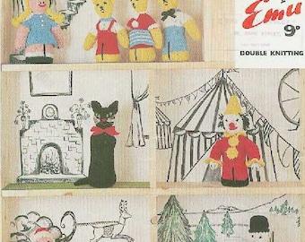 Vintage knitting pattern for Adorable toys. Emu 8126