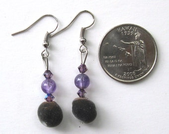 Hawaiian mgambo seed silver color dangle earrings with round amethyst beads and lilac 4mm AB Swarovski crystal bicones