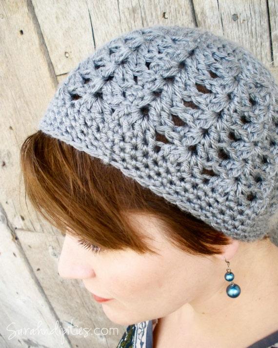 Crochet Hat - Shell Beanie - Heather Grey