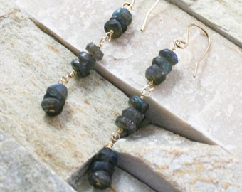 Labradorite earrings, stone jewelry, grey stones, blue jewelry, gold and labradorite, wire wrapped stone, long earrings