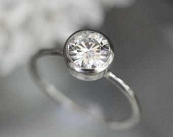 7mm Forever Brilliant Moissanite 14K Gold Engagement Ring, Stacking Ring, Round Moissanite, Recycled Gold, Palladium White - Made To Order