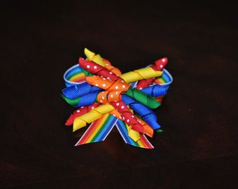 Rainbow Bow Curly Q Barrette