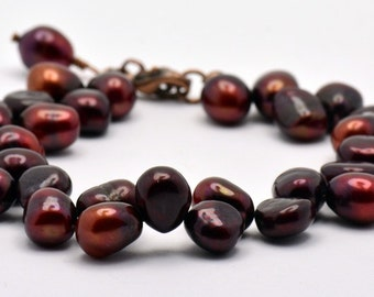 Spiced Berries Freshwater Pearl and Copper Beaded Bracelet