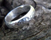 Substantial ring - sterling silver band with hammered texture, size 10.5