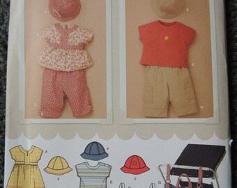 Simplicity 3765 Babies Dress or Top, Pants, T-Shirt, Hat and Stroller Bag in sizes XXS-XS-S-M-L