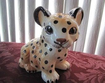 Vintage Shafford Leopard / Jaquar Cub Figurine / Wild Cat  Figurine