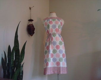 70s colorful floral dress small
