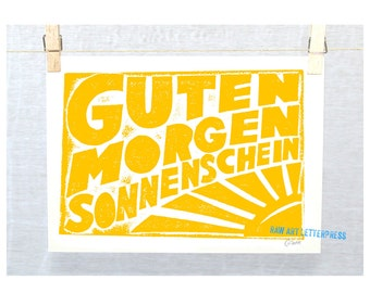 5x7 Guten Morgen Sonnenschein German Good Morning Sunshine Typography Kitchen Art Print  Baby Nursery Decor