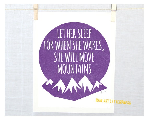 Wall Art, Nursery Decor, Nursery Art Print LET HER SLEEP... Napoleon Quote Let Him Sleep