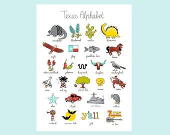 """Texas Alphabet Print 12""""x16"""""""