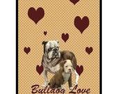 Bulldog  Love Large Polar Fleece Blanket
