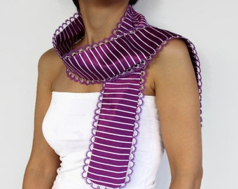 Long Purple Foulard Italian Style Striped Silk Satin Scarf, Two Layered Scarflette, Tatting Lace Trim. Handmade Tatting Lace