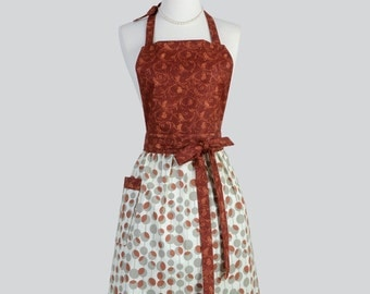 Full Bib Womens Apron - Handmade Modern Vintage Apron Amy Butler Martini Dots Rust and Grey Full Chef Apron Personalize or Monogram
