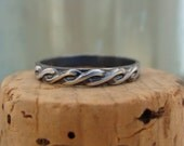 Oxidized Sterling Silver Stack Ring--Braid--Handcrafted--Sweet & Simple