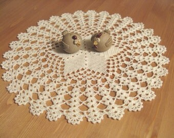 D-5. White Doily - 34 cm, Crochet Lace Doily, Round Doily, light beige dolly, crochet doilies