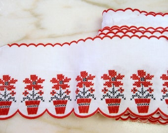 Vintage Red and White Flocked FabricTrim
