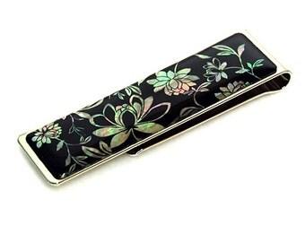 Mother of Pearl Peony Flower Design Slim Stainless Steel Mens Metal Black Money Clip Holder