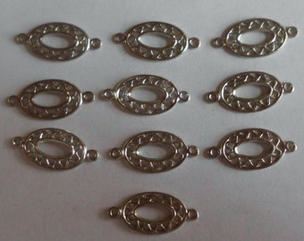 Vintage Jewelry Connectors- Vintage Components- Jewelry Links- Jewelry Parts- Silver Plated- Brass- Set of 10