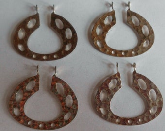 Geometric Pendant-  Silver Plated- Hammered Brass- Vintage Stock-  Set of 4