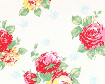 Flower Sugar Spring 2014 Large Roses on light cream Cotton Fabric  by Lecien 30967-10