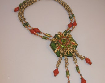 Miriam Haskell Peter Raines Coral Glass Fringe Necklace - Book Piece