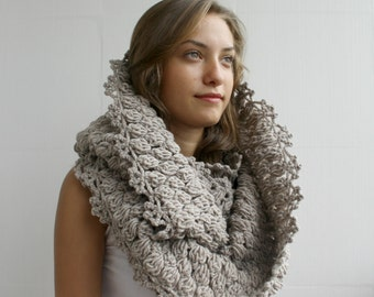 Hand Knit Infinity Milky Brown Scarf - Loop - Circle scarf - Cowl - Milky brown wool scarf - Gift For Her - for women
